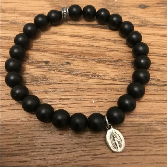 White Coral Bracelet Black Onyx Beads and Silver Elastic Bracelet Handmade Jewelry